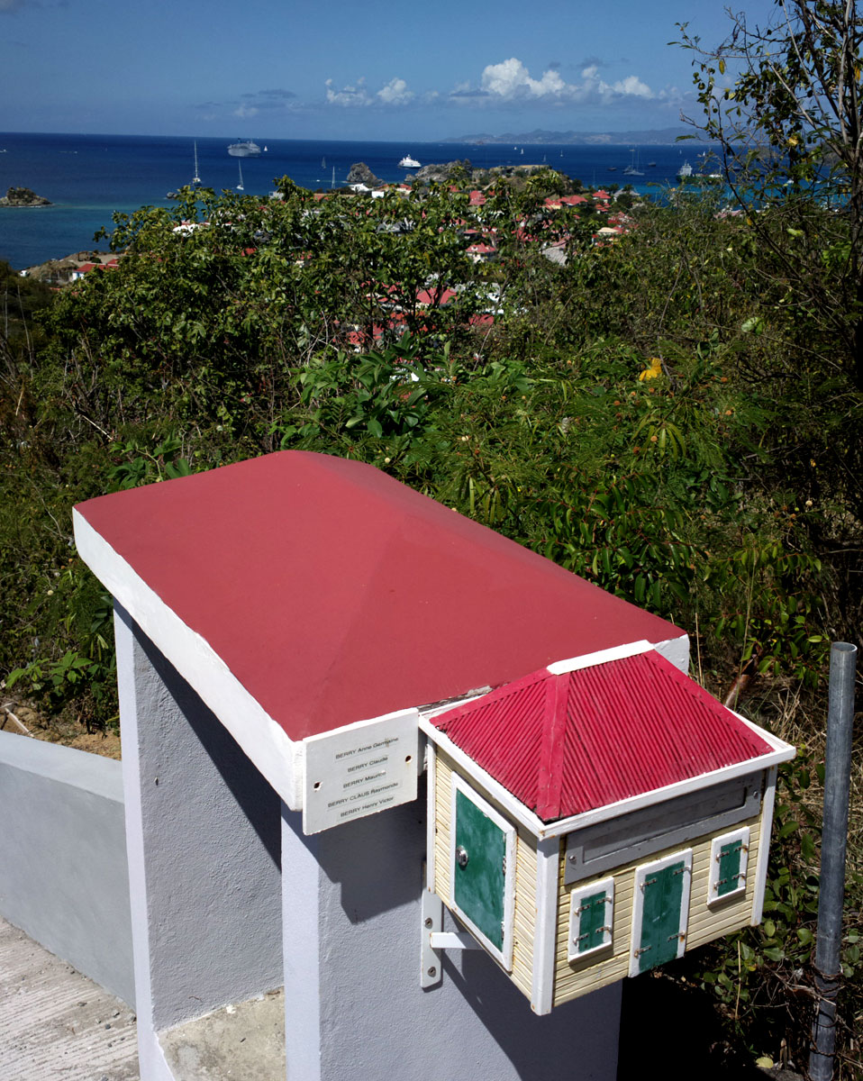 Mail box looking like the red roof houses in Gustavia