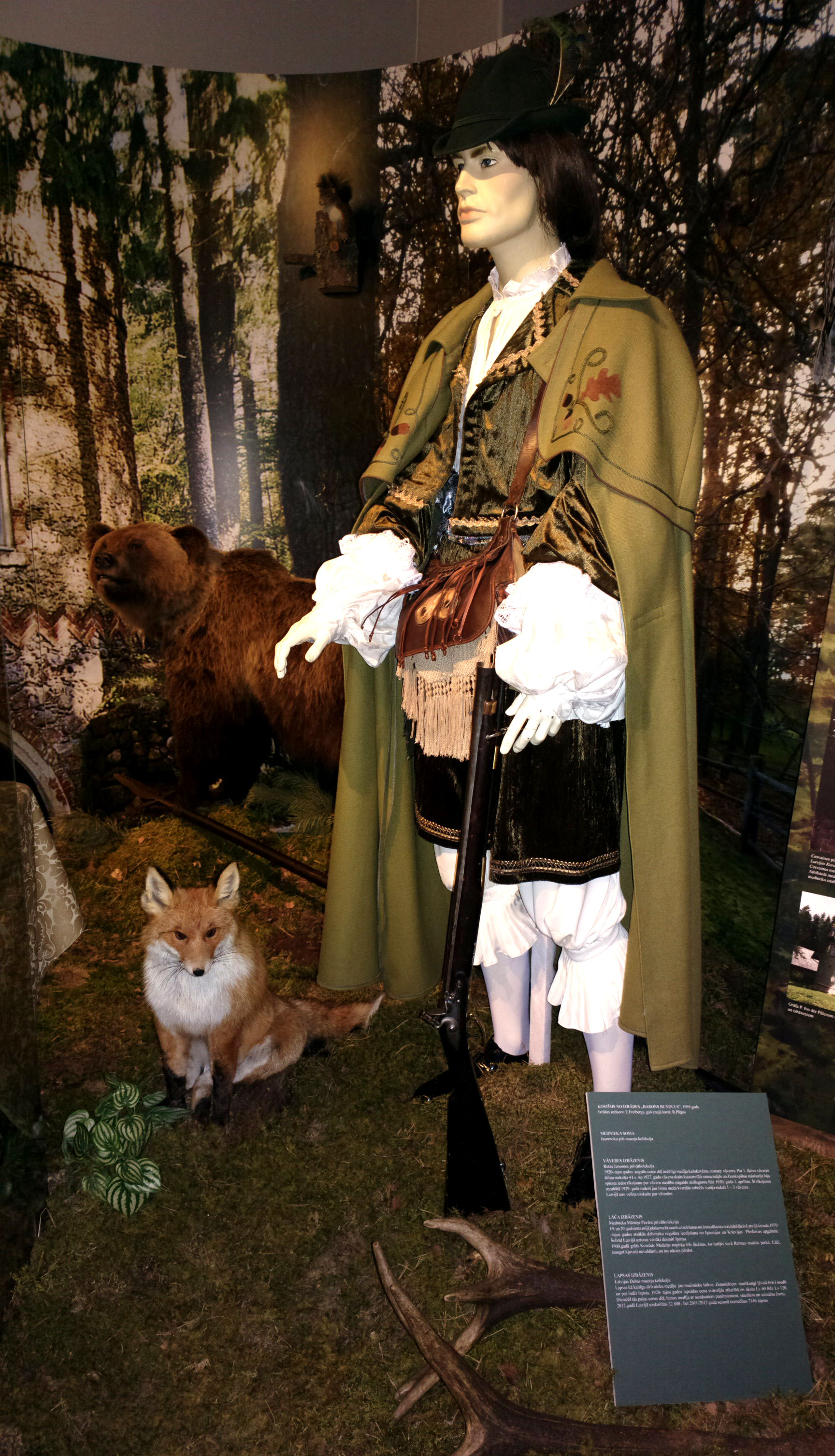 Proper attire for wildlife hunting shown in the Latvian war museum in Riga.