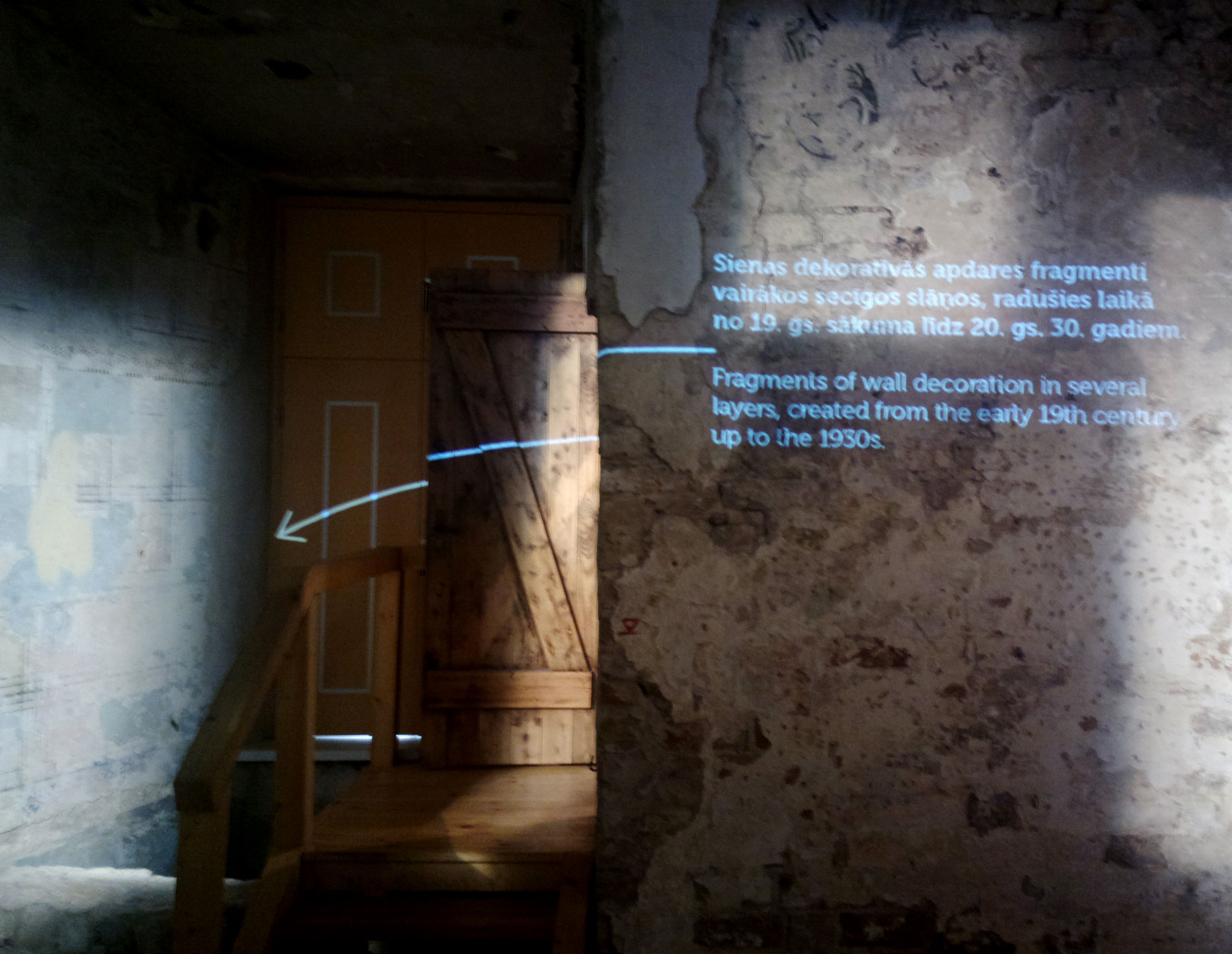 Light is also used to point out important parts in the museum.