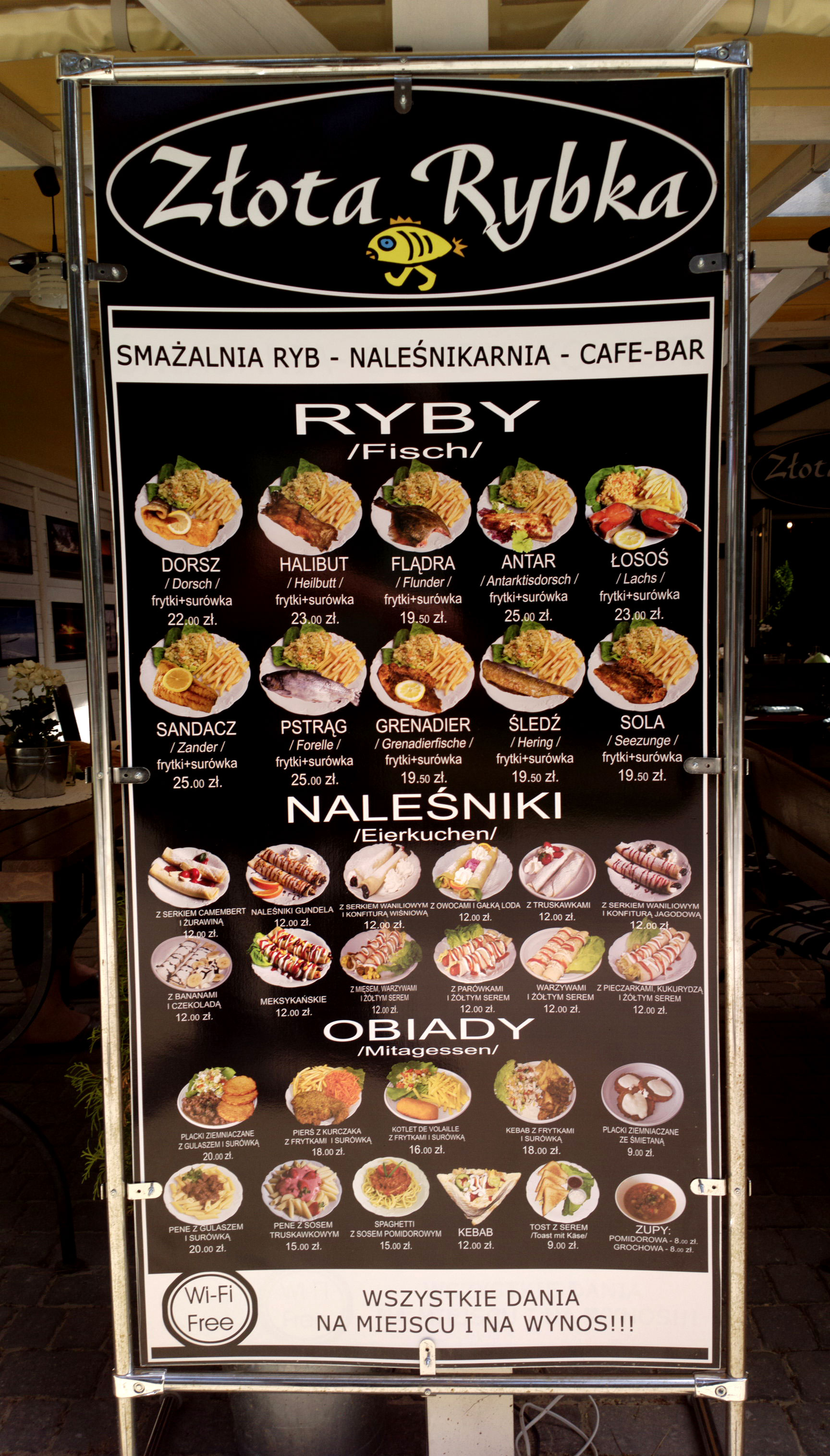 Very good poster for foreigners at a restaurant in Pogorzelica, because it shows how the food looks like.